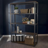 Alan Industrial Metal and Faux Wood Overlay Shelf with Gun Metal Finished Frame