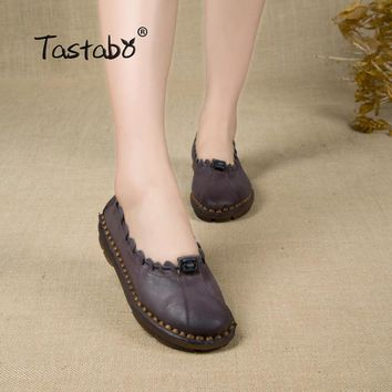 Tastabo Handmade Autumn Women Genuine Leather Shoes Cowhide Loafers Real Skin Shoes Folk Style Ladies Flat Shoes For Mom Sapato