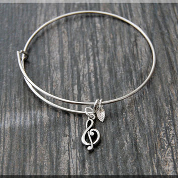 Silver Treble Clef Charm Expandable Bangle Bracelet, Adjustable Bangle Bracelet, Stacking Bracelet, Music Note bangle, Music Jewelry