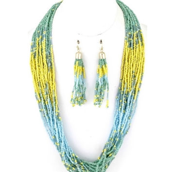 "Beautiful 26"" Thick Layered Seed Bead Aqua/Yellow/Mint Necklace Set"