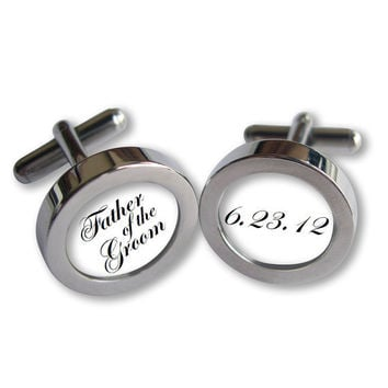 Father of the Groom Cufflinks - For Dad on Your Wedding Day - Date- Script font - Waterproof