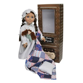 """Officially Licensed Little House on the Prairie 18 Inch Laura Ingalls Doll. Complete with a Nightgown, Rag Doll, Pillow & Quilt! White 18"""""""