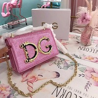 D&G Dolce & Gabbana Women Shopping Chain Leather Crossbody Satchel Shoulder Bag pink