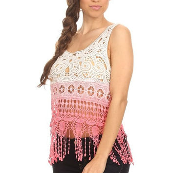 Ombre crochet tank top