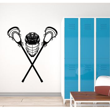 Vinyl Wall Decal Lacrosse Player Game Ball Mask Sport Decor Stickers Mural (g550)