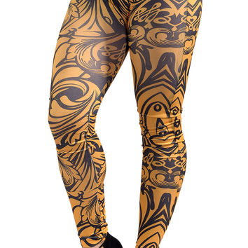 BadAssLeggings Women's Geometric Floral Leggings Medium Yellow