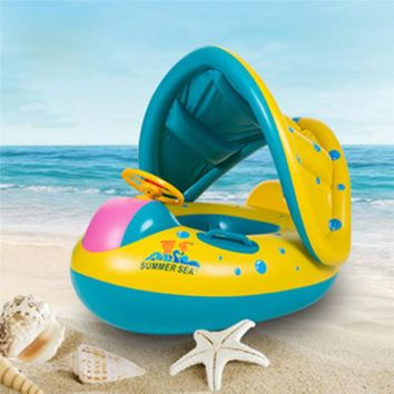Portable Kids Children Baby Infant PVC Float Seat Boat Swim Water Boat Inflatable Adjustable Sunshade Swimming Rings Float Toy