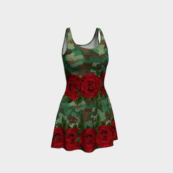 Army Rose Flare Dress Flare Dress