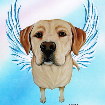 Yellow Lab Angel - Yellow Labrador Retriever - Labs - Dog Angels - Guardian Angels - Pet Memorial - Rainbow Bridge - Weeze Mace - 8x10