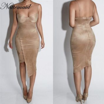 women Suede Bustier Dress Spaghetti Straps Sexy warm body con dress Push up