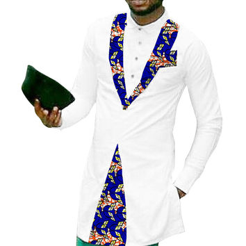 Private custom men fashion tops african tuxedo shirt print and white cotton patchwork dashiki clothes for wedding/party