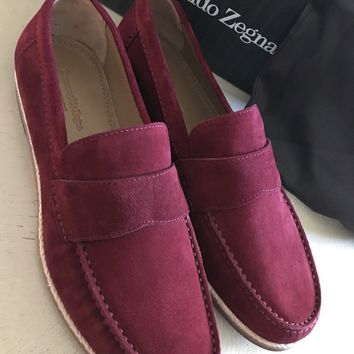 New $595 Ermenegildo Zegna Suede Loafers Shoes MD Red / Burgundy 10 US ( 43 Eu )