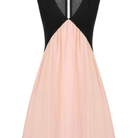 Black and Pink Deep V-neck Dress with Cut-out Detail