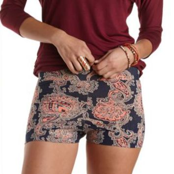 Stretchy Paisley Print Bike Shorts by Charlotte Russe - Navy