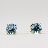 Large Aqua Swarovski Crystal Stud Earrings