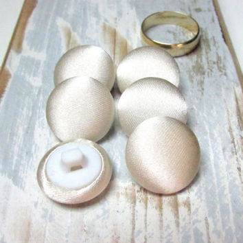 Wedding champagne satin buttons, beige fabric buttons, ivory sewing buttons, champagne wedding, bride bridal sew buttons, set of 6