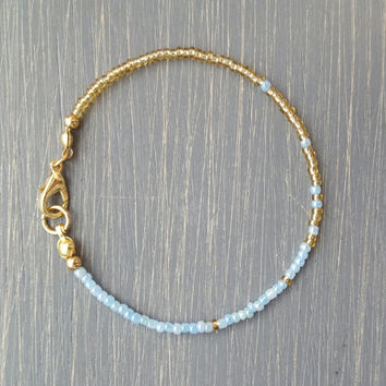 Simple + Stunning Seed Bead Friendship Bracelet // Gold + Pastel Blue Ombre // Stackable Bracelet // Customizable