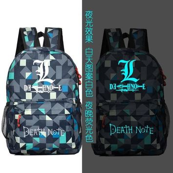Japanese Anime Bag NEW FASHION Death Note Backpack  Death Luminous Male And Female Students Schoolbag Canvas travel shoulder bag AT_59_4