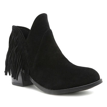 Qupid Black Redmond Suede-Finish Fringed Boot | zulily