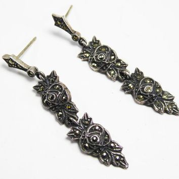 Signed Judith Jack Sterling Silver & Marcsites Post Earrings for Pierced Ears Black Roses with Marcasite Rhinestones Modern Vintage 1990s