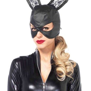 ESBI7E Faux leather bunny mask with lace ears and lace up back in BLACK