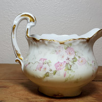 Vintage Limoges Pitcher Creamer Pink Flowers