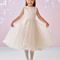 Robe De Mariage Enfant Fille Tank Sleeveless Tea-length A Line Wedding Gowns Kids Champagne Appliques Beading Flowergirls Dress