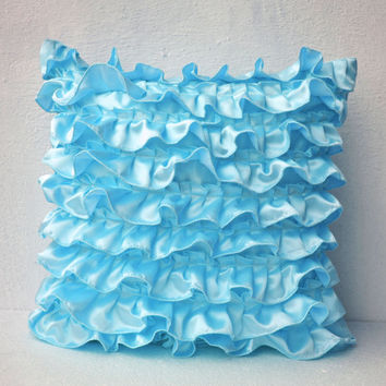 Blue Satin Ruffle Pillow - Decorative pillow - Ruffle throw pillow - Ruffle throw cushion - ruffle 18X18 - Gift pillow