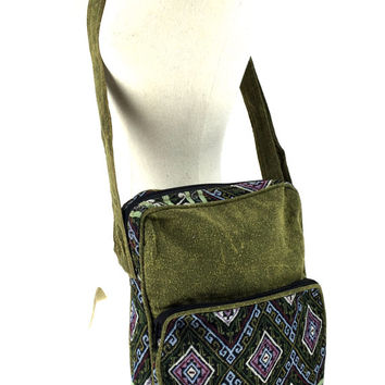 Moroccan Green Bag - Vintage inspired, Aztec Crossbody bag, Shoulder book bag, Messenger bag Perfectly fit a tablet or iPad, Vegan bag