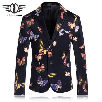 Men Floral Blazer Suits For Men Stylish Flower Butterfly Pattern Blazers Vintage Floral Prom Suit