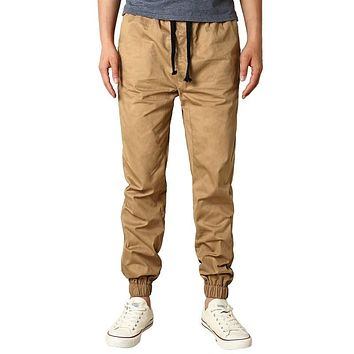 Mens Lace Up Drawstring Fit Trousers Haren Pockets Casual Loose Solid Cargo Pants