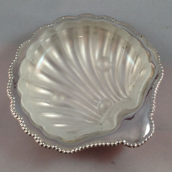 Sterling Silver Sea Shell Candy Dish Scallop Shell with glass insert