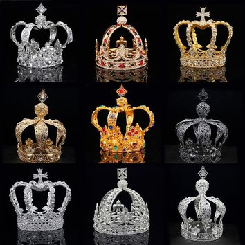 Royal Queen King Tiaras Crown Men Round Diadem Bridal Tiaras and Crowns Headdress Wedding Hair Jewelry