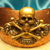 Skull and Crossbones, cuff bracelet, goth, wiccan, steampunk,  vintage style , charm,and chain cuff