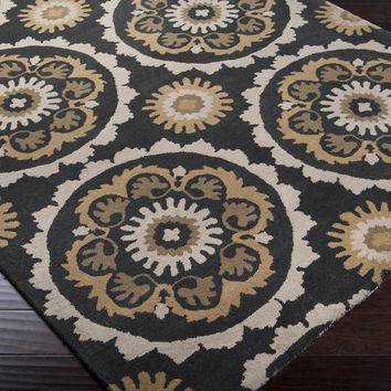 Mosaic Area Rug | Black Medallion and Damasks Rugs Hand Tufted | Style MOS1063