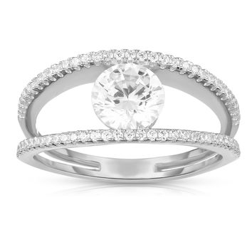 Prong Set Solitaire Engagement Ring Diamond Simulant CZ Sterling Silver