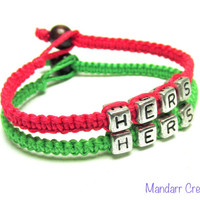 Bracelets for LGBT Couples, Bamboo Cord, Neon Pink, Neon Green, Anniversary Gift