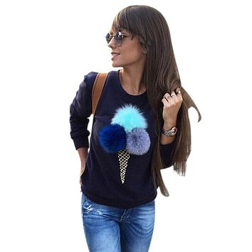 2017 Women Autumn Winter Ice Cream Fur Balls Sweatshirt Colorful Plush Ball Long Sleeve O-Neck Tracksuit Dames Hoodies Top