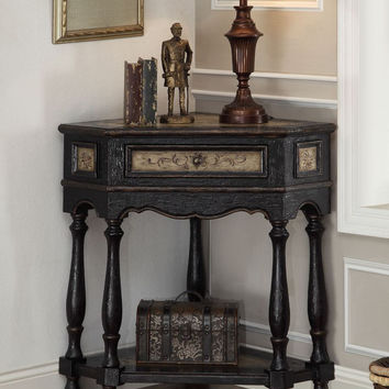 Black and Beige Corner Table