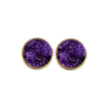 Dark Purple Druzy Earrings