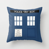 Doctor Who - Minimal Tardis Throw Pillow by John Takacs