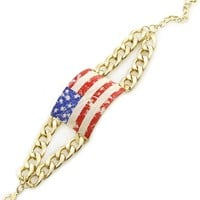 "8"" silver american flag patriotic 4th of july chain link bangle bracelet"