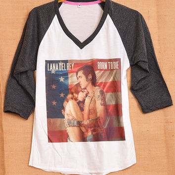 Lana Del Rey Born To Die Flag Pop Punk Vintage Lady Women Fashion T shirt V Neck Size S M L
