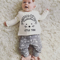 New 2016 baby girl clothes cotton long sleeved t-shirt+pants newborn infant 2pcs suit baby clothing sets size 60-100