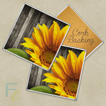 Drink Coasters, Sunflower Handmade Design, Ceramic Tiles, Housewarming Gift, Wedding Gift, Garden Home Decor, Dark Wood Background