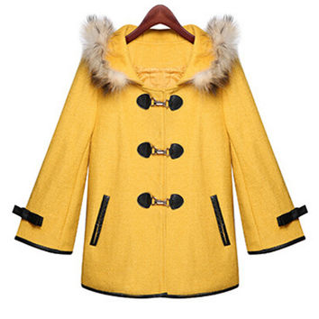 Bell Sleeve Princess Cape Coat with Real Raccoon Fur Collar