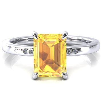 Maise Emerald Yellow Sapphire 4 Prong Diamond Accent Engagement Ring