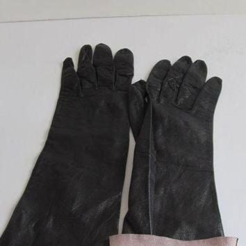 ONETOW RARE Unique Long Black Kid Leather Gloves Lambskin Gloves Soft Leather Gloves Driving