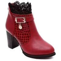 Ankle Boots With Lace and Rhinestone Design