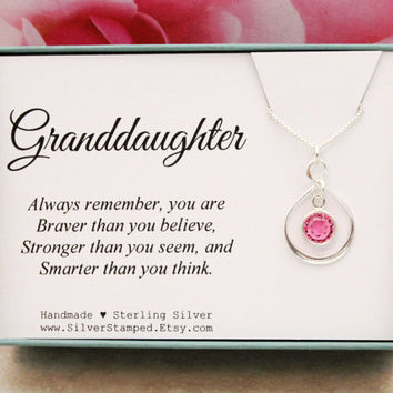 Gift for Granddaughter Gift sterling silver Swarovski birthstone necklace You are braver than you think Christmas birthday gift from grandma
